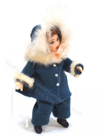 Red-head Girl Porcelain Doll in Blue Winter Outfit by Joy Parker - Click Image to Close