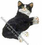 Dollhouse Scale Model Laying Black & White Socks Cat