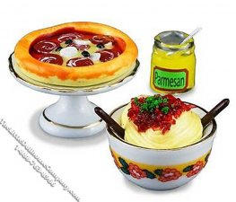 Miniature Pizza and Pasta Set for Dollhouses