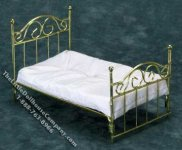 Dollhouse Miniature Brass Single Bed with Mattress