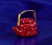 Dollhouse Scale Model Red Enamelware Teapot