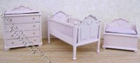 Miniature Pink Nursery Set with Pink Covers for Dollhouses