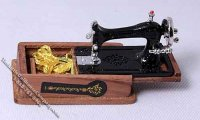 Dollhouse Scale Model Sewing Machine with Storage Compartment