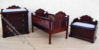Miniature Mahogany Nursery Set with Blue Covers for Dollhouses