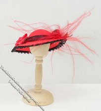 Miniature Red Ladies Hat w/Flower & Black Bow for Dollhouses