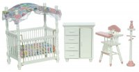 4pc Nursery Set - White with Pink Trim