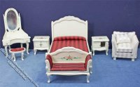 Miniature Seven Piece White Bedroom Set for Dollhouses