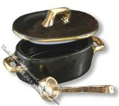 Miniature Black Fish Pot with Ladle for Dollhouses