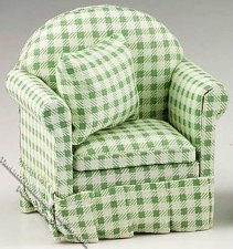 Miniature Green/White Checked Chair w/Pillow for Dollhouses