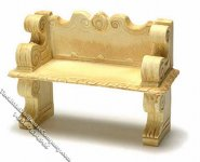 Miniature Victorian Tan Stone Bench for Dollhouses