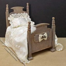 Miniature Wooden Bed by Danielle Design for Dollhouses