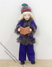 Blond Haired Girl Wearing a Blue Winter Outfit by Patsy Thomas