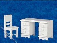Miniature White Desk with Chair Set for Dollhouses