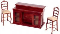 Dollhouse Miniature Bar with Two Bar Stools
