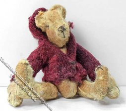 Miniature Victorian Teddy Bear in a Red Hoodie for Dollhouses