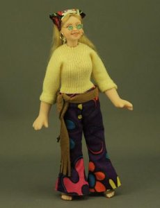 Retro '60s Girl Porcelain Hippie Doll by Cindy's Dolls