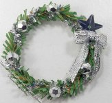 Miniature Wreath with Silver Bow & Star for Dollhouses