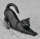 Dollhouse Scale Model Black Cat Stretching Out