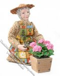 Miniature Older Woman Tending Flowers for Dollhouses