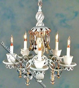 Miniature White Teacups Chandelier