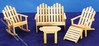 Miniature 5 Piece Oak Adirondack Furniture for Dollhouses