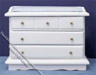 Miniature Changing Table/Chest w/Blue Gingham Pad for Dollhouses