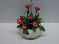 Miniature Hanging Red Flower For Dollhouses