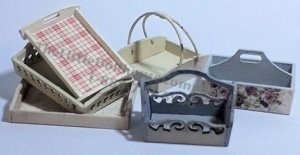 Miniature Trugs And Trays Kit for Dollhouses