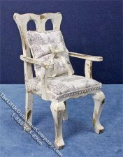 Miniature White Distressed Arm Chair for Dollhouses