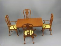 Dollhouse Miniature 5 Pc. Dining Set Walnut
