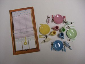 Miniature Designer Window Shade And Dinner Set For Dollhouses