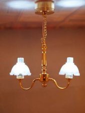 Dollhouse Scale Model Battery Operated Brass Two Arm Chandelier