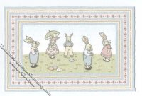 Dollhouse Scale Model Bunny Parade Rug