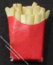 Miniature Fries in Red Cardboard Container for Dollhouses