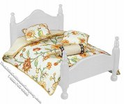 Miniature Queen Size Bed Comforter Set for Dollhouses