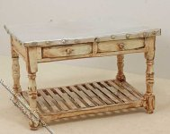 Miniature Country Style Table w/Metal Top for Dollhouses