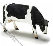 Dollhouse Scale Model Black & White Cow Grazing