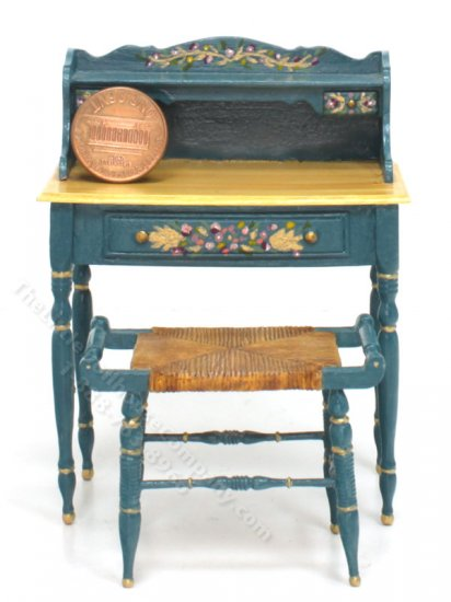Miniature Blue Enamelware Desk and Stool and Floral Accents - Click Image to Close