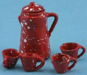 Dollhouse Scale Model Red Enamel Ware Coffee Set