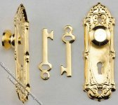 Miniature Brass Opryland Door Handle Set with Key for Dollhouses