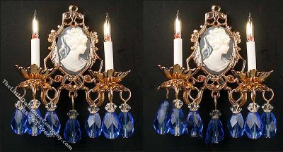 Dollhouse Scale Model Pair of 12v Antoinette Sconces