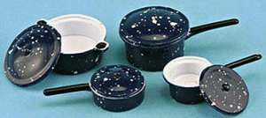 Blue Enamel Ware Cookware Set (7 pc)