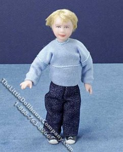 Miniature Blonde Child in Blue Sweater by Cindy's Dolls