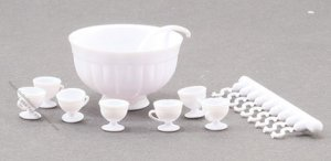 Miniature White Punch Bowl Set For Dollhouses