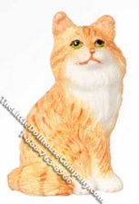 Dollhouse Scale Model Sitting Orange Persian Cat
