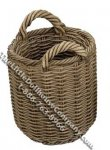 "Miniature Tall Round ""Wicker"" Basket for Dollhouses"