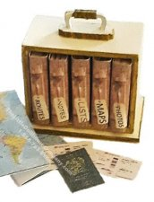 Miniature Travel Book Set In Box Kit for Dollhouses