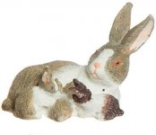 Miniature Light Gray Mamma Rabbit With Babies for Dollhouses