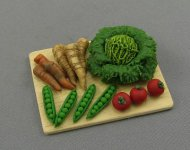 Dollhouse Scale Model Cutting Board and Vegetables