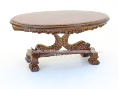 Oval Club Room Pedestal Coffee Table in Walnut